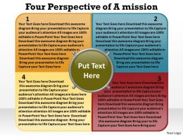 four perspective of a mission shown by text boxes overlapping with circle powerpoint templates 0712