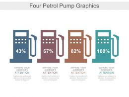 Four Petrol Pump Graphics For Financial Percentage Powerpoint Slides