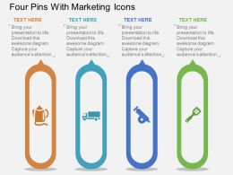 Four Pins With Marketing Icons Flat Powerpoint Design
