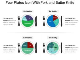 Four Plates Icon With Fork And Butter Knife