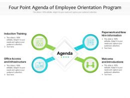 Four Point Agenda Of Employee Orientation Program
