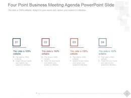 Four Point Business Meeting Agenda Powerpoint Slide