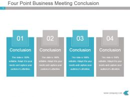 Four Point Business Meeting Conclusion Powerpoint Diagram