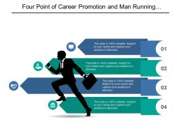 Four Point Of Career Promotion And Man Running With Briefcase Graphic