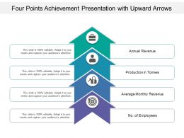 Four Points Achievement Presentation With Upward Arrows