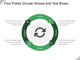 Four Points Circular Arrows And Text Boxes