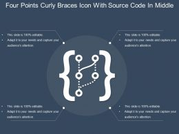 Four Points Curly Braces Icon With Source Code In Middle