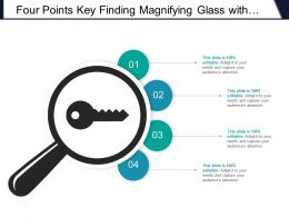 Four Points Key Finding Magnifying Glass With Key Icon