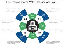 Four Points Process With Data Icon And Text Holders