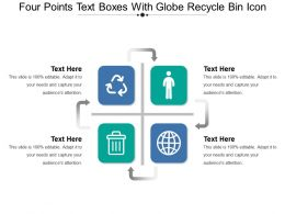 Four Points Text Boxes With Globe Recycle Bin Icon