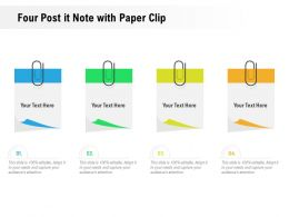 Four Post It Note With Paper Clip