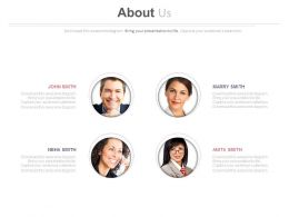 Four Profile For Company About Us Details Powerpoint Slides