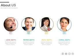 Four Profiles For Business About Us Powerpoint Slides