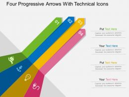 Four Progressive Arrows With Technical Icons Flat Powerpoint Design
