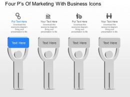 Four Ps Of Marketing With Business Icons Powerpoint Template Slide