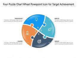Four Puzzle Chart Wheel Powepoint Icon For Target Achievement