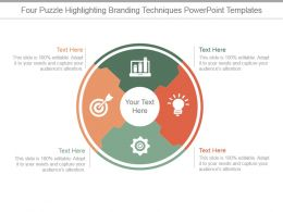 Four Puzzle Highlighting Branding Techniques Powerpoint Templates