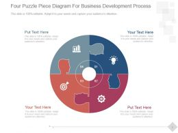 Four Puzzle Piece Diagram For Business Development Process