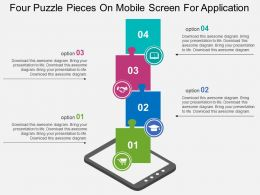 Four Puzzle Pieces On Mobile Screen For Application Flat Powerpoint Design