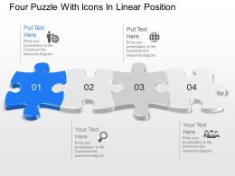 Four Puzzle With Icons In Linear Position Powerpoint Template Slide