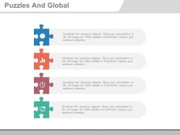 Four Puzzles And Global Business Management Flat Powerpoint Design