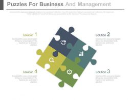Four Puzzles And Icons For Business Management Powerpoint Slides