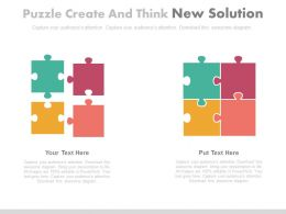 Four Puzzles Create And Think New Solution Powerpoint Slides