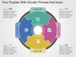Four Puzzles With Circular Process And Icons Flat Powerpoint Design