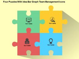 Four Puzzles With Idea Bar Graph Team Management Icons Flat Powerpoint Design