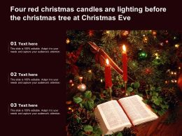 Four Red Christmas Candles Are Lighting Before The Christmas Tree At Christmas Eve