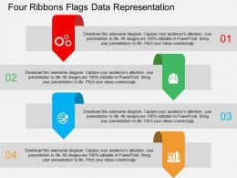 Four Ribbons Flags Data Representation Flat Powerpoint Design