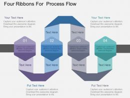 Four Ribbons For Process Flow Flat Powerpoint Design