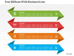Four Ribbons With Business Icons Flat Powerpoint Design