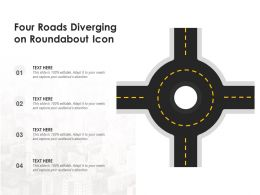 Four Roads Diverging On Roundabout Icon