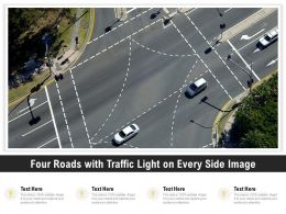 Four Roads With Traffic Light On Every Side Image