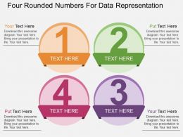 Four Rounded Numbers For Data Representation Flat Powerpoint Design