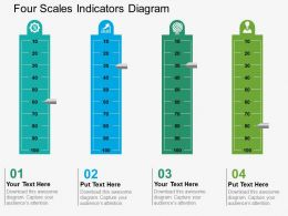 four_scales_indicators_diagram_flat_powerpoint_design_Slide01