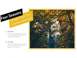 Four Seasons Image With Dry Leaves And Girl