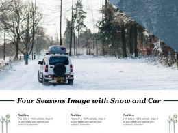 Four Seasons Image With Snow And Car
