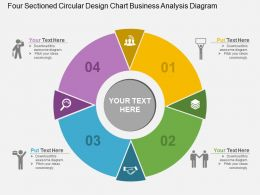 Four Sectioned Circular Design Chart Business Analysis Diagram Flat Powerpoint Design