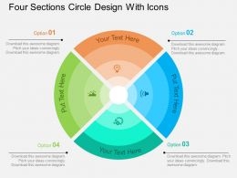 Four Sections Circle Design With Icons Flat Powerpoint Design