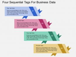 Four Seqquential Tags For Business Data Flat Powerpoint Desgin