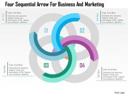 Four Sequential Arrow For Business And Marketing Flat Powerpoint Design