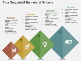 Four Sequential Banners With Icons Flat Powerpoint Design