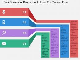 Four Sequential Banners With Icons For Process Flow Flat Powerpoint Design