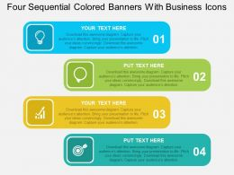 Four Sequential Colored Banners With Business Icons Flat Powerpoint Design
