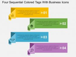 Four Sequential Colored Tags With Business Icons Flat Powerpoint Design