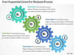 Four Sequential Gears For Business Process Powerpoint Templates