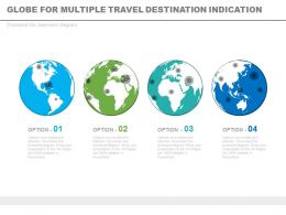 Four Sequential Globes For Multiple Travel Destination Indication Powerpoint Slides