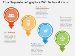Four Sequential Infographics With Technical Icons Flat Powerpoint Design